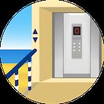 Ascensore interno collegato alla spiaggia privata